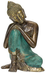 "Sculpture ""Resting Buddha"", Bronze Antique Finish"