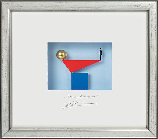 """3D-Painting """"Small Balancing Nude"""", framed"""