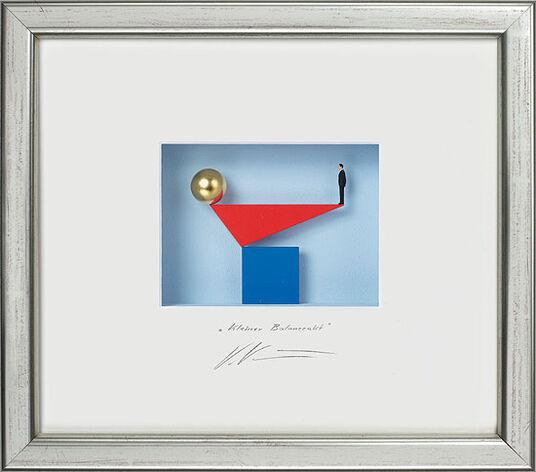 """Volker Kühn: 3D-Painting """"Small Balancing Nude"""", framed"""