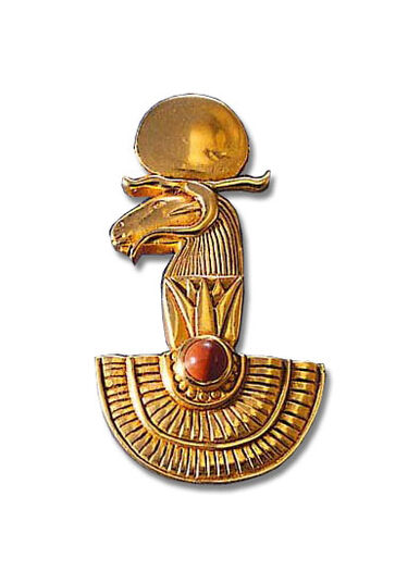 "Ancient Egyptian zodiac sign ""Aries"" (21.3.-20.4.) pin brooch with lucky stone."