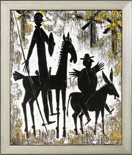 "Peter Strang: Porcelain Painting ""Don Quichotte and Sancho Pansa"", Framed"