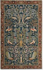 """Wandteppich """"Bäume und blaue Vögel"""" - nach Wiliam Morris"""