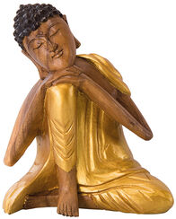"Skulptur ""Ruhender Buddha"", Holz mit Golddekor"