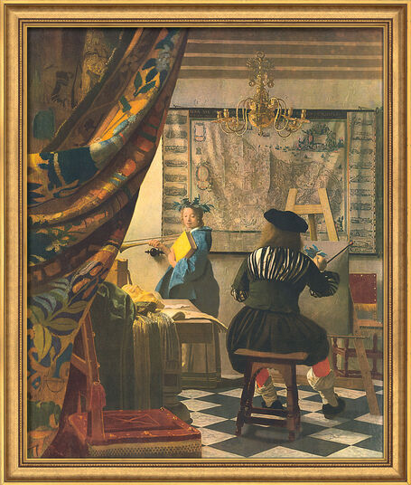 "Jan Vermeer van Delft: Bild ""Die Malkunst"" (1665), gerahmt"