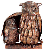 """Skulptur """"Eule mit Jungem"""", Kupfer"""