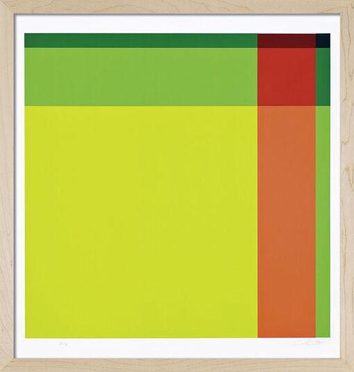 "Richard Paul Lohse: Bild ""Diagonal von hellgrün über rot zu dunkelgrün"" (1973), gerahmt"