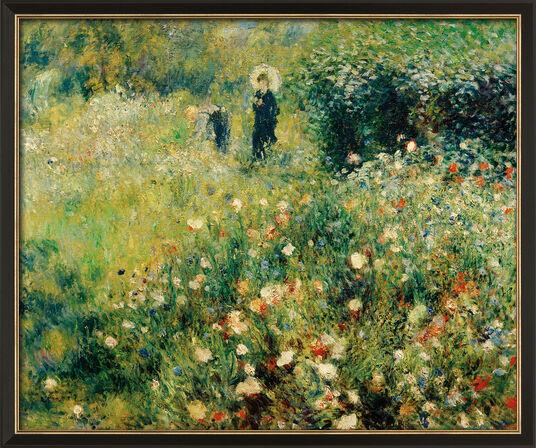 """Auguste Renoir: Bild """"Frau mit Sonnenschirm in einem Garten"""" (1875), gerahmt"""