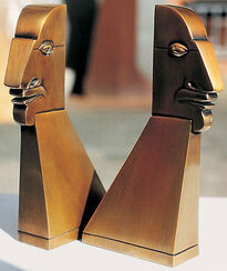"Skulpturen ""Große Beziehungskiste"" (5 Eggheads), Bronze"
