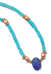 Scarab necklace of real turquoise