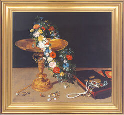 Painting 'Still-Life with Garland of Flowers and Golden Tazza'