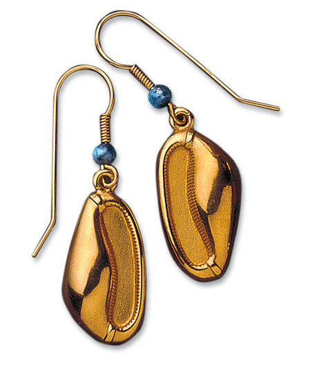 Princess Sithathor's cowry shell earrings, gold-plated 925 sterling silver