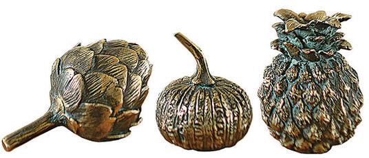 "Set of 3 decorative fruits ""Artichoke"" + ""Pumpkin"" + ""Pineapple"", bronze edition"
