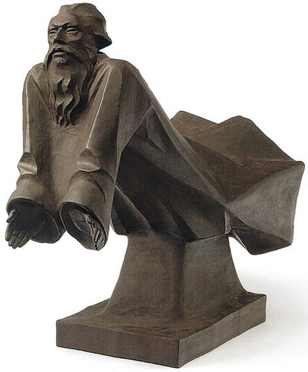 "Ernst Barlach: Sculpture ""The floating God the Father"", Boettger stoneware"