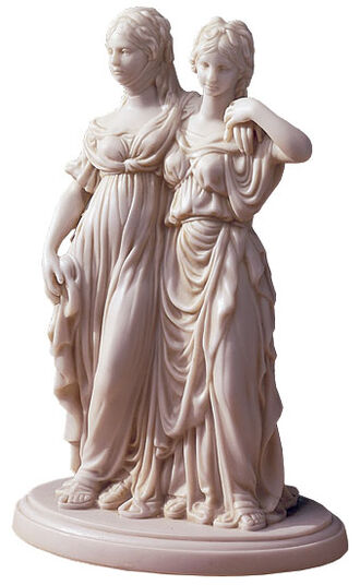 """Johann Gottfried Schadow: Skulptur """"Luise und Friederike"""", Reduktion in Kunstmarmor"""