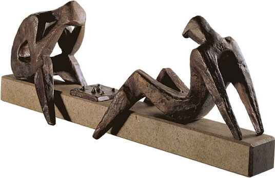 """Sepp Mastaller: Sculpture """"The Chess Player"""", Bronze"""