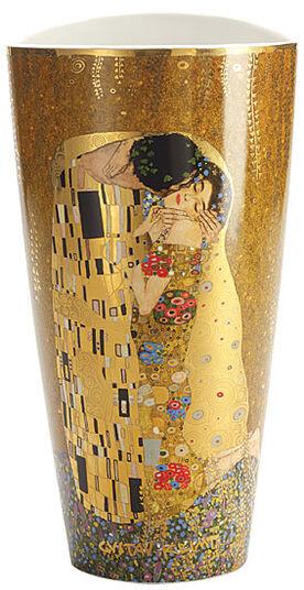 """Gustav Klimt: Porzellanvase """"Der Kuss"""" mit Goldelementen"""