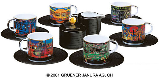 Friedensreich Hundertwasser: Set of Six Cups