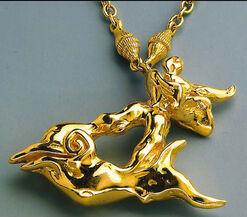 """""""Hombre sobre Delfin"""", gilded"""