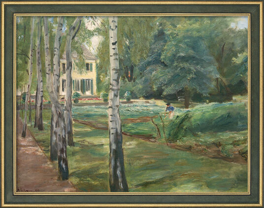 """Max Liebermann: Bild """"Die Birkenallee im Wannseegarten nach Westen"""" (1918), gerahmt"""