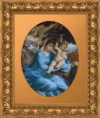 """Bild """"Madonna mit Kind und einem Engel"""" (um 1528-30), gerahmt"""