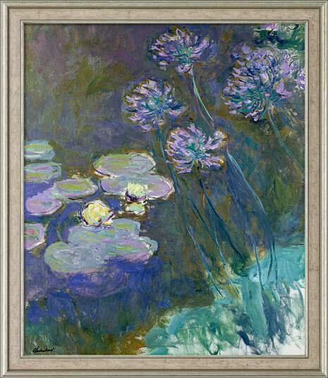"Claude Monet: Bild ""Gelbe Seerosen und Agapanthus"" (1914-1917), gerahmt"