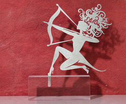 "Zodiac sculpture ""Sagittarius"" (23.11.-12.21.), stainless steel on base"