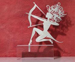 """Sternzeichen-Skulptur """"Schütze"""" (23.11.-21.12.), Edelstahl auf Sockel"""