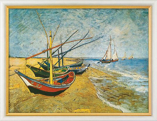 """Vincent van Gogh: Bild """"Fischerboote am Strand von Saintes-Maries"""" (1888), gerahmt"""