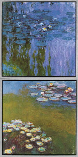 "Claude Monet: Set of 2 Pictures ""Water Lilies II"" (Nympheas 1916-19) and ""Waterlilies I"" (Nympheas 1914-17)"