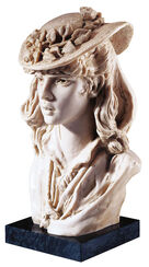 "Sculpture ""Girl with the roses on her hat"", artificial marble edition."