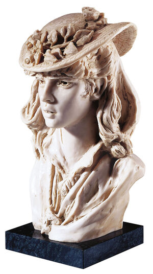 "Auguste Rodin: Sculpture ""Girl with the roses on her hat"", artificial marble edition."