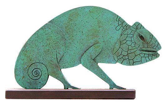 "Paul Wunderlich: Sculpture ""Chameleon"", metal casting"