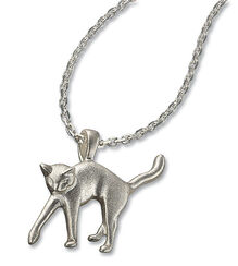 """Necklace """"the amorous cat"""" silver edition"""