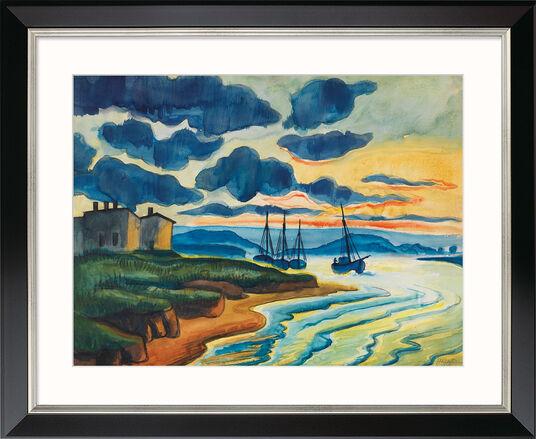 """Max Pechstein: Bild """"Sonnenuntergang"""" (1925), Version schwarz gerahmt"""