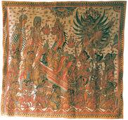Balinesisches Tempelbild, gerahmt