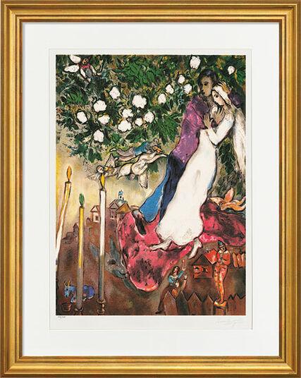 """Marc Chagall: Bild """"Die drei Kerzen"""" (1938-40), gerahmt"""
