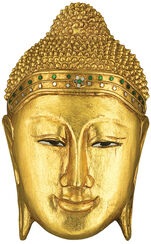 "Wall Object ""Buddha Mask"", Gilded Wood"
