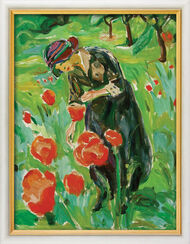 """Painting """"Lady with Poppy Flowers"""" (1918/19), Framed"""