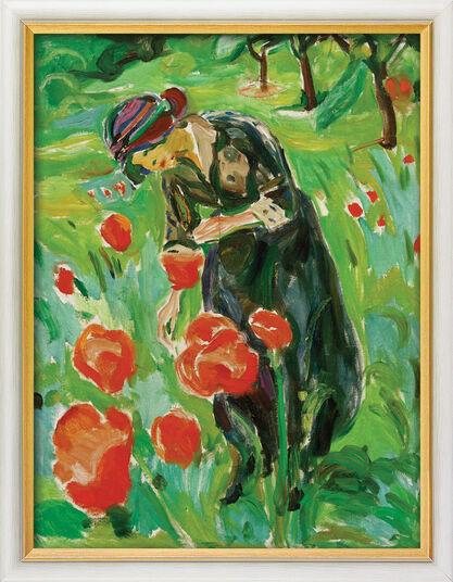 "Edvard Munch: Bild ""Frau mit Mohnblumen"" (1918/19), gerahmt"