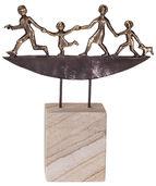 """Skulptur """"Unterwegs"""", Bronze auf Stein"""