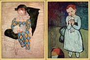 "2 Paintings ""Paul as Harlequin"" (1924) and ""Girl with Dove"" (1901) in a set"