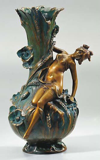 Louis Auguste Moreau: Vase 'Poppy', version in artificial bronze