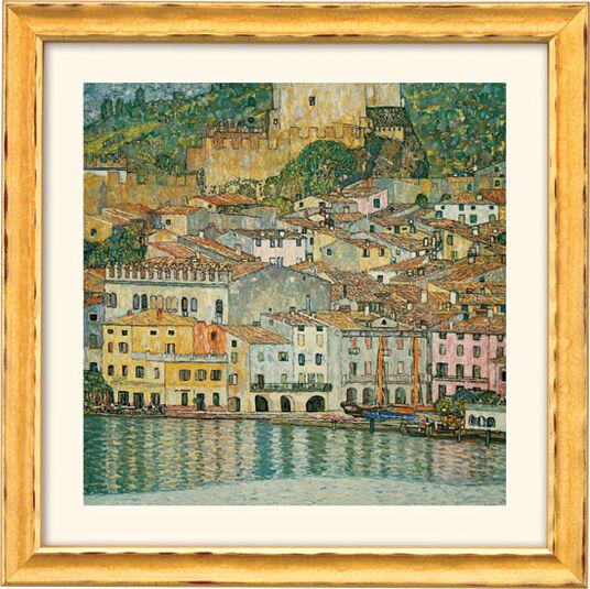 """Gustav Klimt: Painting """"Malcesine on Lake Garda"""" (1913), framed"""