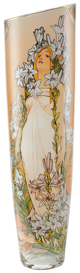 """Alphonse Mucha: Glass vase """"Lily"""" with gold elements"""