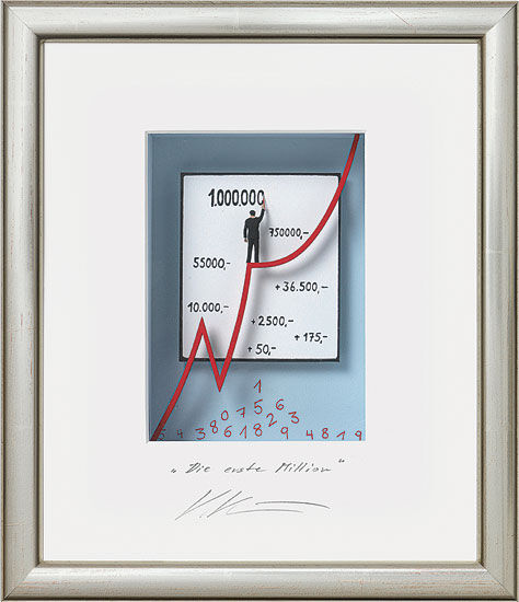 "3D-Painting ""The First Million"", Framed"