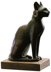 Bastet cat with earring