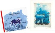 """Bild """"Die blaue Kuh (auf der Weide)"""" (2017), ungerahmt - inkl. Buch"""