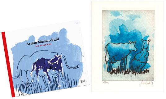"""Armin Mueller-Stahl: Bild """"Die blaue Kuh (auf der Weide)"""" (2017), ungerahmt - inkl. Buch"""