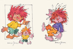 "Set of 2 pumuckl pictures ""Puppet"" and ""Oops"""