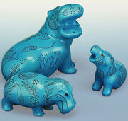 Hippo family, 3 pieces